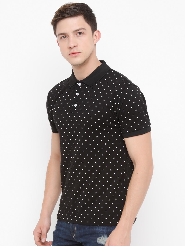 Genius18 Black Printed Polo T Shirt For Men Genius18